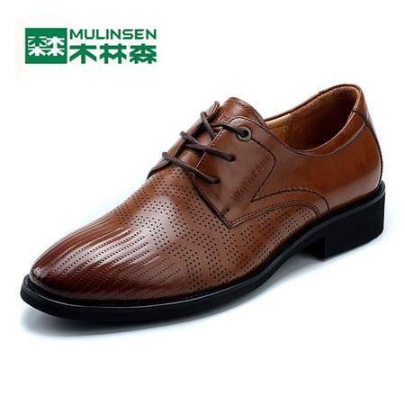 2015木林森新款男鞋商务皮鞋真皮头层皮新品大气系带男鞋子