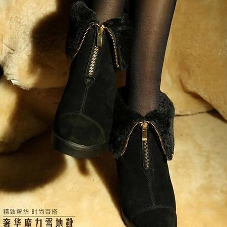 VG新款内增高女靴子拉链款坡跟高跟保暖时装靴舒适鞋子