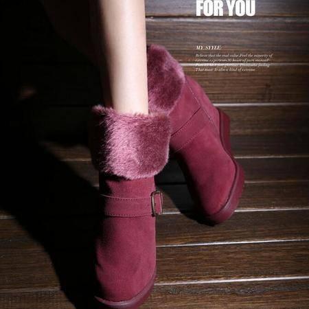 IVG2016新款中低邦雪地靴内增高坡跟女靴子明星款包邮