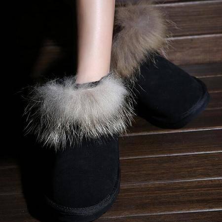 IVG2015冬季新款保暖雪地靴女靴子休闲狐狸毛低帮短筒靴子