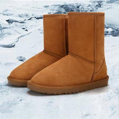 IVG2016冬季新款中筒雪地靴真皮牛皮保暖女靴子女棉鞋子牛筋底