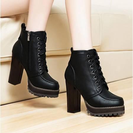 莱卡金顿新款高跟短靴子粗跟防水台女靴子深口系带休闲马丁靴