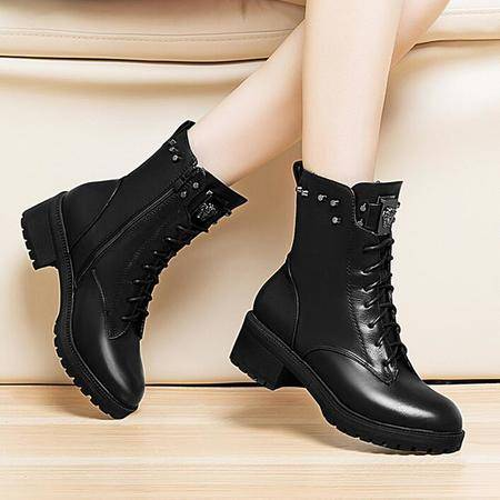 莱卡金顿秋冬新款中跟马丁靴女绑带中筒女靴子粗跟女鞋休闲短靴子