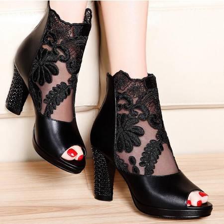 莫蕾蔻蕾2016春季新款时装凉鞋高跟粗跟性感网纱鱼嘴女鞋