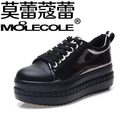莫蕾蔻蕾2016新款时尚休闲鞋厚底单鞋松糕坡跟内增高女鞋