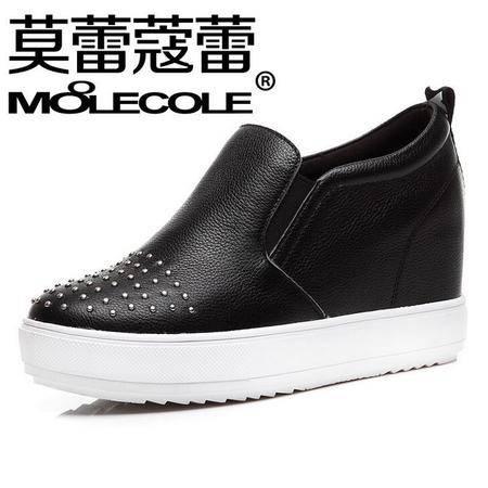 莫蕾蔻蕾2016春季新款韩版休闲女鞋 增高铆钉坡跟单鞋子