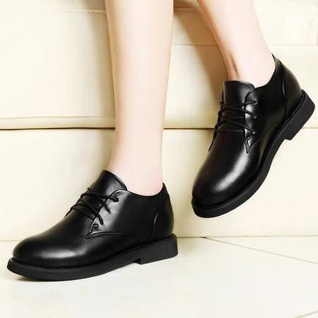 2016春季新款单鞋女平底鞋韩版潮休闲鞋系带平跟皮鞋工作
