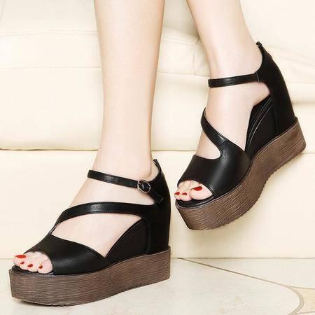 2016新款春季女鞋厚底内增高鱼嘴凉鞋女夏坡跟高跟鞋子女