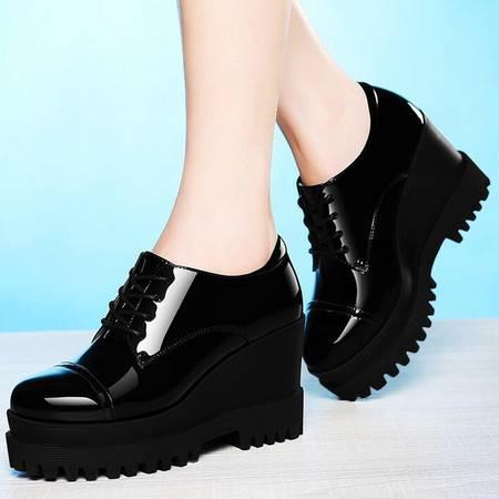 2016春季新款深口单鞋女圆头皮鞋女高跟鞋厚底坡跟女鞋子