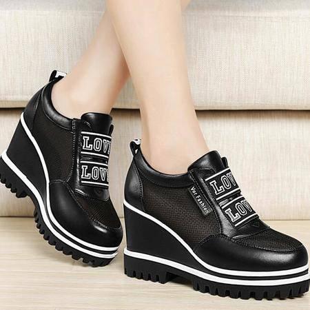 鞋子女韩版春季新款圆头坡跟网纱透气女鞋厚底松糕跟休闲鞋女单鞋