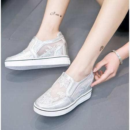 莫蕾蔻蕾2016夏季新款女鞋乐福鞋平底内增高休闲韩版网纱透气单鞋