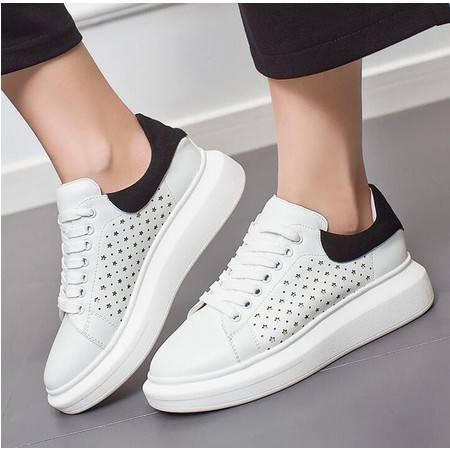 莫蕾蔻蕾女鞋厚底板鞋2016新款潮平底休闲鞋纯色低帮女鞋