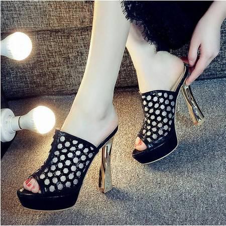 莫蕾蔻蕾2016夏季新款性感时尚水钻高跟凉鞋防水台粗跟鱼嘴拖鞋