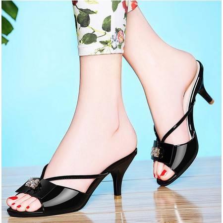 夏天蝴蝶结拖鞋女士高跟凉鞋2016夏季新款时尚百搭细跟凉拖鞋外穿