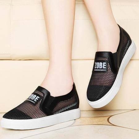2016夏季网鞋女透气运动休闲网面鞋韩版平跟懒人一脚蹬女鞋子