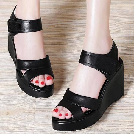2016夏季新款头层牛皮鱼嘴凉鞋坡跟女凉鞋潮防水台女鞋子