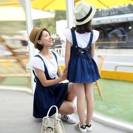 母女亲子装2016新款纯色T恤+牛仔背带裙连衣裙母女装