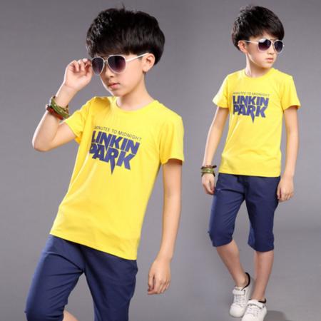 新款童装2016夏款男童字母套装 男童夏款短袖男童运动两件套