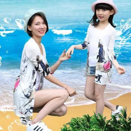母女亲子装 夏款2016新款毛线针织印花中长款防晒衣 纯棉外套