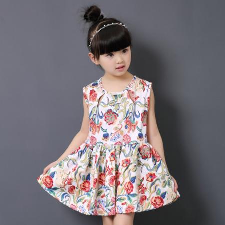 韩版公主大花裙 2016童装新款 女童连衣裙外贸大童背心裙