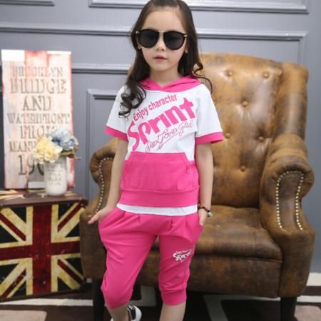 女童套装2016夏季新款女中大童两件套休闲运动口袋字母图案套装