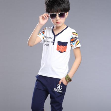 童装男童2016新款儿童夏款套装中大童韩版中大童字母印花运动套装