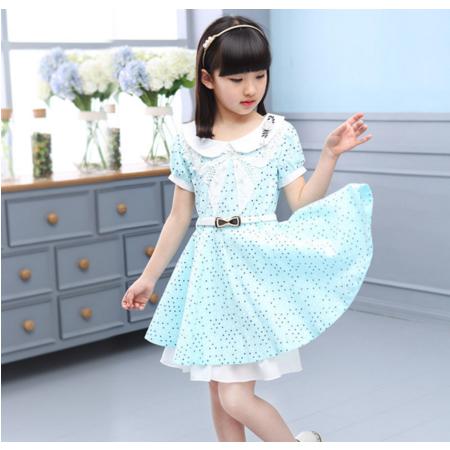 2016夏季新品童装 女童连衣裙 韩版甜美波点短袖翻领童裙