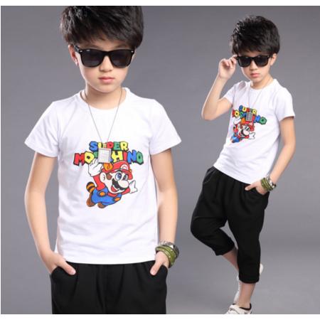 2016夏季新款男童印花短袖T恤 中大童字母圆领上衣