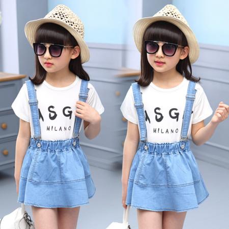 童装女童套装2016夏款女中大童背带裙长T恤两件套儿童春装套装