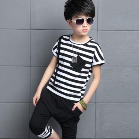 夏季新款潮童拼色条纹两件套 男童夏款圆领运动套装