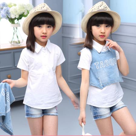 童装夏季新款潮三件童套装女童无袖字母牛仔短裤套装