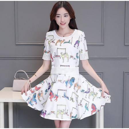 2016夏季韩版新款印花连衣裙 时尚印花套装印花两件套