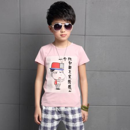 2016年夏款中大男童格子裤运动套装 纯棉奥戴尔T恤套装潮