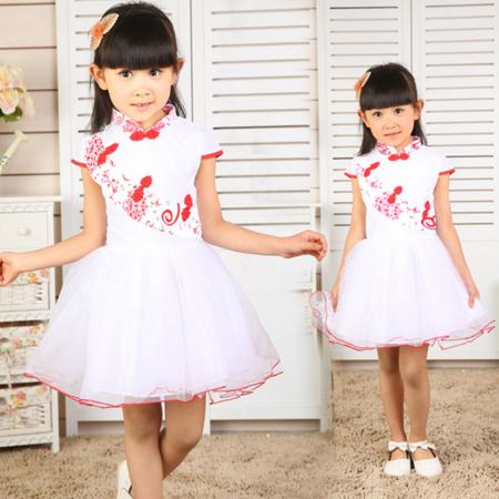 新款名族风连衣裙 女童青花瓷裙子 中小童六一舞蹈裙