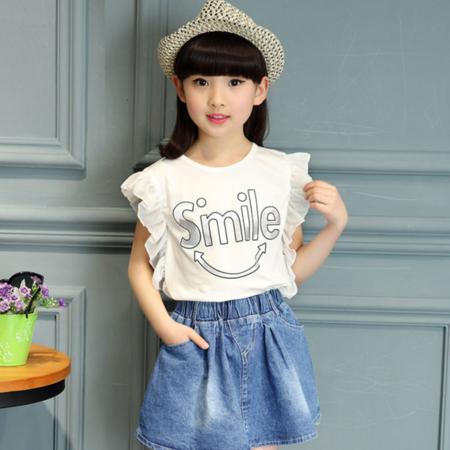 潮童夏季新款裙套装中大童微笑T恤牛仔裙两件套小孩子衣服