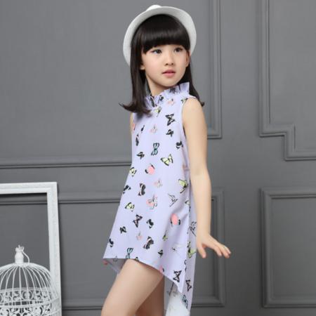 2016夏季新款女童蝴蝶款燕尾服 背心长款荷叶领上衣