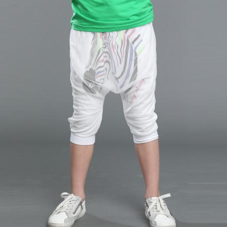 儿童裤 男童斑马七分裤 斑马网纱裤 中大童