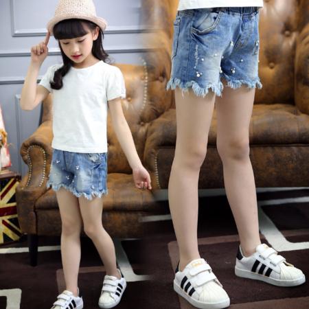 潮童夏款女童波浪流苏边牛仔短裤 女孩子钉珠牛仔款热裤