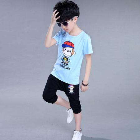 夏装新款韩版男孩子帽子短袖两件套 中大童圆领运动中裤童套装