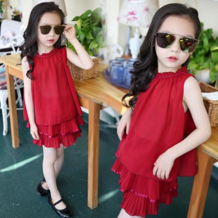 女童2016夏装新款中大童背心百褶荷叶裙套装韩版女童雪纺裙套装