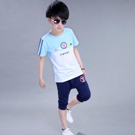 夏装新款韩版儿童拼色短袖两件套 男童中大童中裤运动童套装