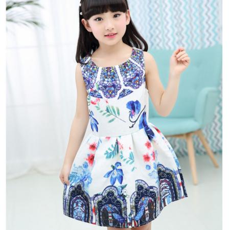 女童连衣裙2016夏季新款中大童数码印花公主裙A字裙韩国童装