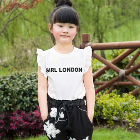 2016夏装新款韩版女童碎花雪纺套装 中小童短袖两件套