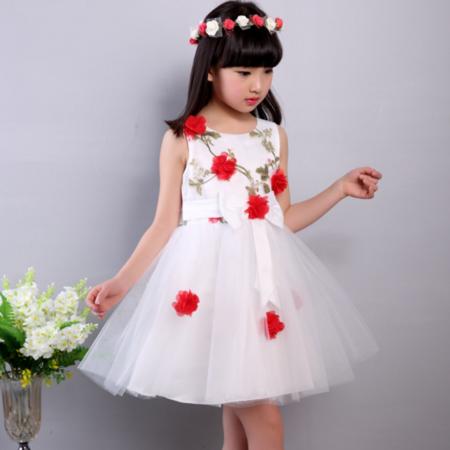 2016夏季女童连衣裙可爱无袖手工小花朵甜美中童时尚公主连衣裙
