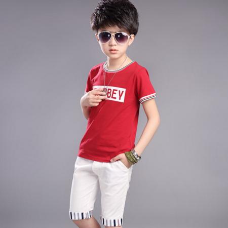 男童夏套装2016新款韩版潮中大童纯棉短袖t恤海豚休闲两件套
