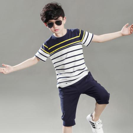 童套装2016男童新款休闲运动两件套夏季短袖撞色条纹套装