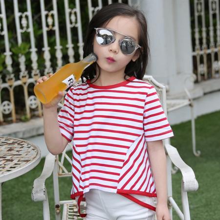 童装2016夏季新款中大童纯棉短袖T恤 韩版燕尾女童燕尾条纹T恤