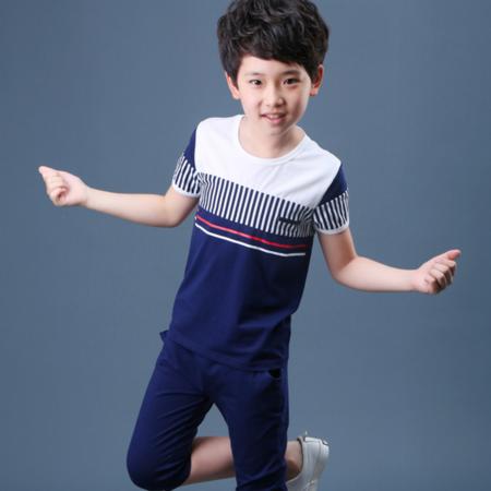 童套装2016夏季新款韩版男童中大童时尚条纹拼接套装男童纯棉套装