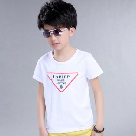 2016夏季新款男孩时尚休闲短袖T恤 中大童男童倒三角版T恤