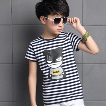 2016夏季新款男童纯棉条纹短袖T恤 儿童蝙蝠侠印花打底衫